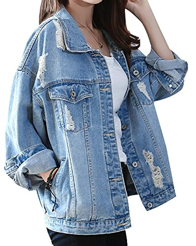 OUMIZHI® Damen Jeans-Jacke mit Patches Blouson Knopfverschluss Cut-outs Denim Jacket (Jeans-jacke Denim Damen)