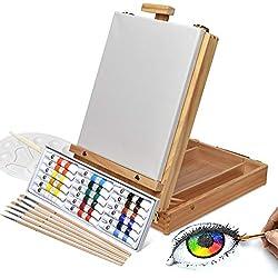 Artina set de peinture complet acrylique Florenz de 27pieces idéal pour les loisirs - Chevalet de table + accessoires