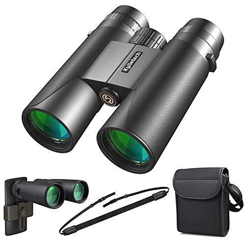 Kylietech Ferngläser für Erwachsene 12x42 kompakte Fernglas für Vogelbeobachtung, Wandern, Jagd, Sightseeing, Kleines Fernglas mit Nachtsicht-Funktion.FMC Linse, Tragetasche und Smartphone-Adapter