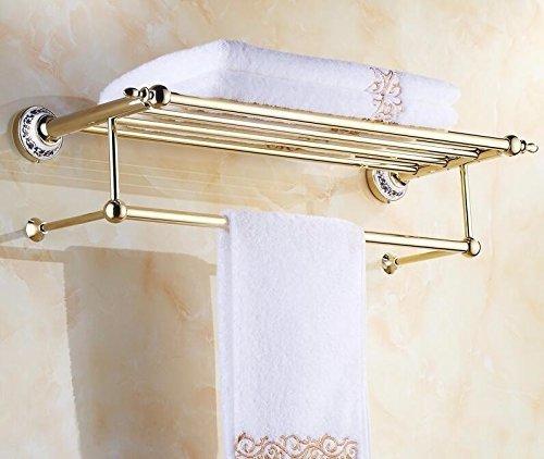 ZWJ Handtuchregal, Zimmer Badezimmerhaus Krawatte mit Gold 67 * 23Cm des Standregals, Wandhalterung