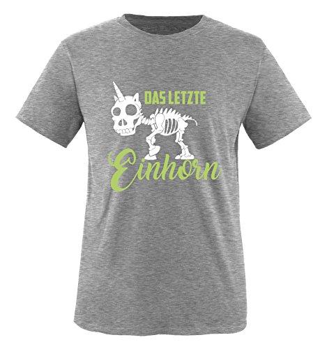 Comedy Shirts - Das letzte Einhorn - SKELETTE - Jungen T-Shirt - Grau / Hellgrün-Weiss Gr. 98/104 (Liebe, Graues T-shirt)