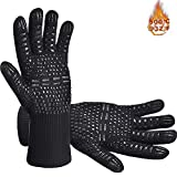 Senders BBQ Grill Gloves, 932°F Extreme Heat Resistant Oven Mitts, Silicone Non-slip Kitchen