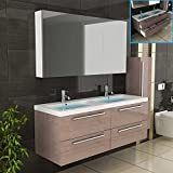 Badmöbel / Braun / Doppelbecken mit Unterschrank / Spiegelschrank / Badezimmer / Modell - Garda-1440 / Farbe Braun / Badset / Waschbecken und Spiegelschrank