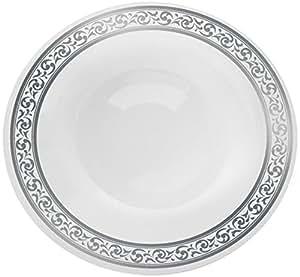decorline vaisselle de luxe usage unique couleur blanc avec bord motif argent gaufr party. Black Bedroom Furniture Sets. Home Design Ideas