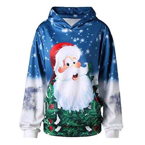 Soupliebe Top Damen Langarm Brief Weihnachten Elk Head Print Bluse Fashion T Shirt Kapuzen Sweatjacke Kapuzenpullover Hoodie Pullover Sweatshirt