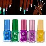 ESAILQ fluoreszierenden Neon Leuchtenden Gel Nagellack, 5 Pcs Candy Fluoreszierende Neon Leuchtende Gel Nagellack für Glow in Dark Nail Lack (2#.5#.8#.9#.10#)