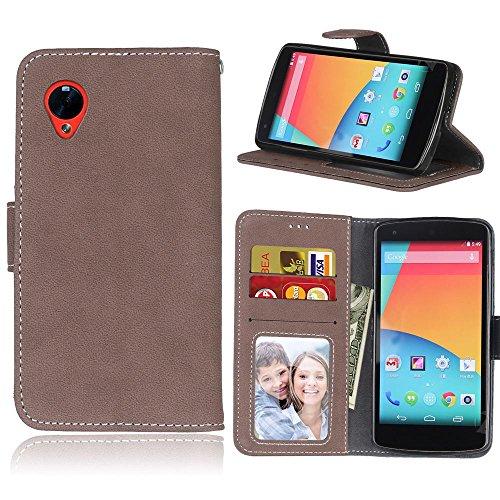 Mattierte Oberfläche solide Farbe horizontalen Flip Stand Case PU-Leder Tasche Cover mit Wallet-Funktion Kartensteckplätze für LG Google Nexus 5 E980 D820 ( Color : 6 ) 3