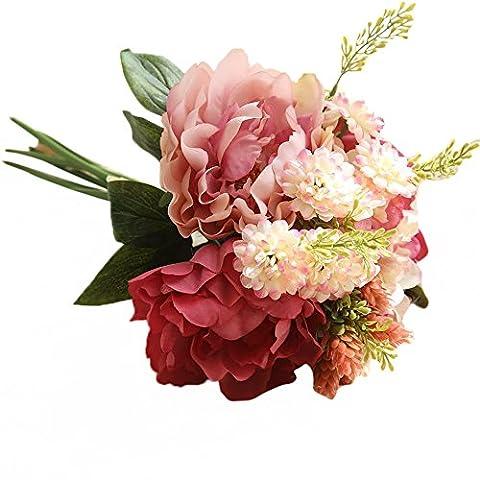 Bouquet de Pivoine artificielle, Tianranrt 1Bouquet de feuilles de fleur de Pivoine en soie artificielle Home Décor de fête de mariage