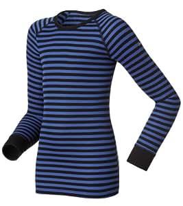 Odlo 10459 Maillot de corps ras de cou à manches longues pour enfant Warm Noir/Bleu 80