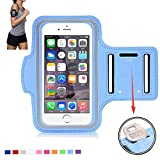 Tsmine Sports Gym Armband Wrist Case - Universal Water Resistant Running Jogging Fitness MobilePhone Pouch Armband Case for iPhone 6S 6 Plus / Samsung Galaxy Note 2 / 3 / 4 / 5 / Various Mobile Phone, Size L, Light Blue