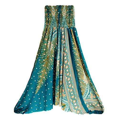 KEERADS Haremshosen Damen Große Größen Indische Aladinhose Pants Kostüm Haremshose Lang Dunkelgrün Schwarz Türkis Rot Lila (one Size, Blau C)