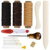 Vidillo 15 Stück Buchbinder Set Starter Werkzeuge Set Bone-Folder Papier Creaser,handgefertigte Bücher und DIY Buchblind-Set,einschließlich Nadeln/gewachster Faden/Papierahle/Kunststofflineal