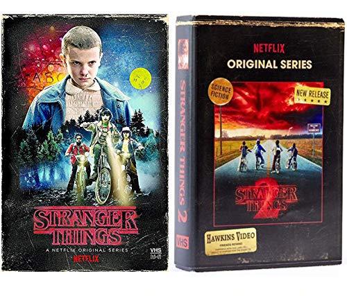 Stranger Things Netflix Exklusives Set Saison 1 und Saison 2 Bundle DVD Blu-ray Discs in VHS Style Boxen (Chucky-dvd-set)