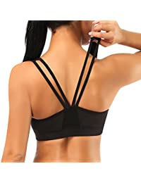 SIMIYA Sports Bra, Womens Removable Pads Good Impact Support Cross Back Workout Bras for Gym Yoga Running Non Wired