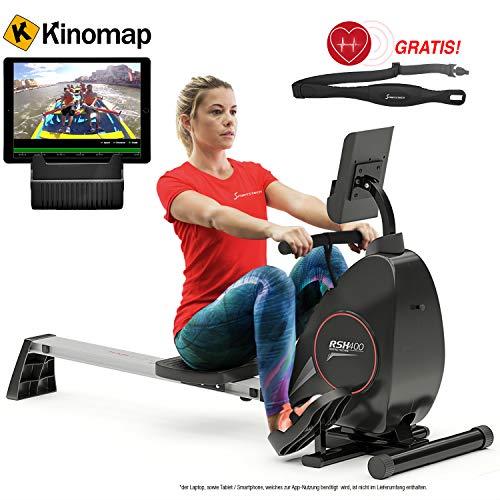 Sportstech Rudergerät RSX400 mit Kinomap APP, Pulsgurt inkl. - Rudermaschine für Ihr Zuhause, klappbar mit 8fach einstellbarem Magnetwiderstand und kugelgelagertem Sitz