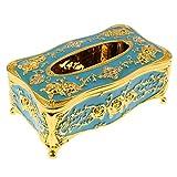 Fenteer Retro Europäisches Kosmetiktücherbox Kosmetikbox Taschentuchbox Tissue Box - Goldenes Blau