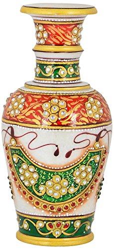 Saudeep India Trading Corporation Marble Flower Pot With Jali Cut (SIFPNCOR13, 15...