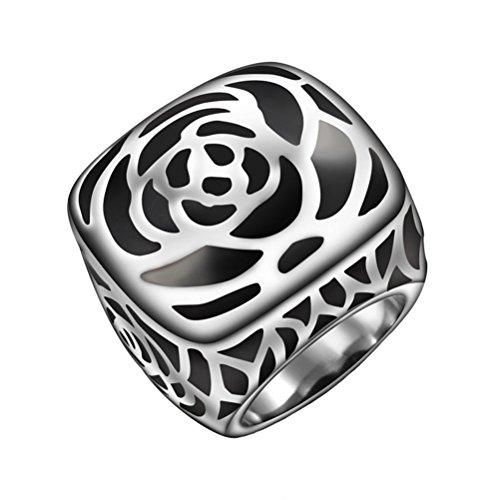 HIJONES Unisex Acero Inoxidable Rose Flor Patrón Anillo Vintage Estil