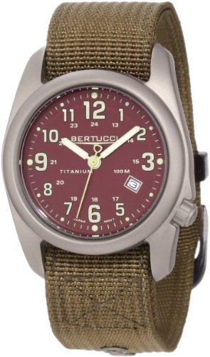 Bertucci 12050 A-2S unisex cachi scuro di nylon banda Crimson Dial titanio Orologio