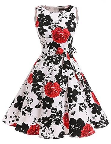 Dresstells, Vintage 1950's Audrey Hepburn robe de soirée cocktail, bal style années 50, Rockabilly, Swing, Fleur Noir et Rouge XS