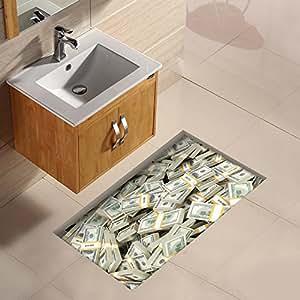 ungfu mall 1 pc 3d badezimmer wasserdicht euro muster fu boden aufkleber anti slip. Black Bedroom Furniture Sets. Home Design Ideas