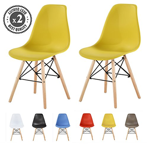 MCC Set of 2 Modern Design Dining Chairs Retro Lounge Chairs, LIA by (Yellow)