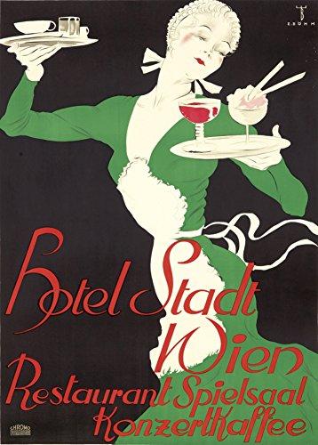 Vintage vini, birre e liquori, stadt hotel vienna, austria wien c1934 by ernst bohm cartolina illustrata, formato a3, 250 g/mq, riproduzione art deco