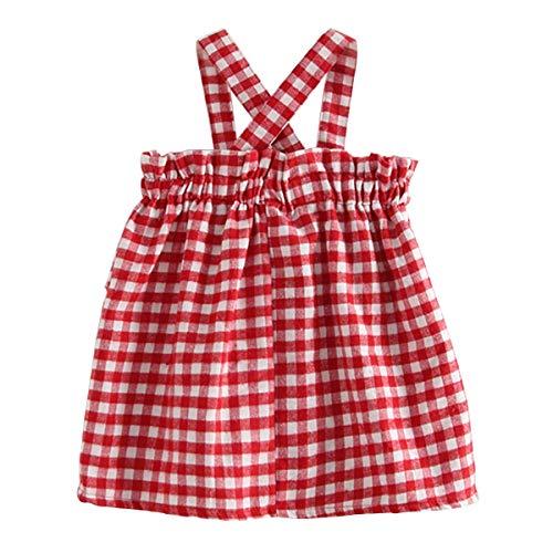 1-6Y Little Girls Sundress clásico Vestido de Tiras a Cuadros Rojo con  Volantes Top de57968aa02c1