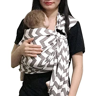 Vlokup Wrap Original 100% Cotton Adjustable Baby Carrier Infant Lightly Padded Ring Sling Gray Wave