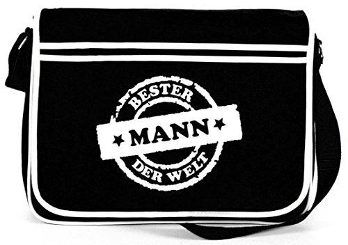 Bester Mann der Welt Stempel, Vatertag Retro Messenger Bag Kuriertasche Umhängetasche Schwarz