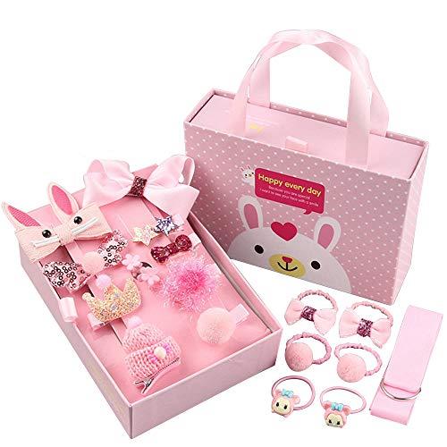 Haarspangen für Mädchen, Geschenk-box Set Haar-Accessoires für Baby-Boutique, Nette Haarspange Haarbänder für Kleine Mädchen Baby Kleinkind,18 Stück - Rosa (Rosa)