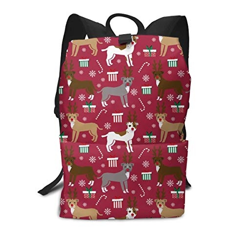 best gift Backpack Pitbull Reindeer Snowflake Candy Cane Holiday Dogs Burgundy Laptop Backpack Student School Bookbag Casual Durable Rucksack Travel Daypack