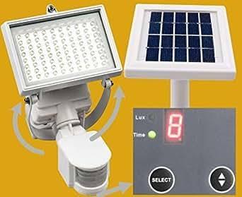 MicroSolar - Projecteur à énergie solaire avec détecteur de mouvement - 80 LED - Batterie Lithium longue durée
