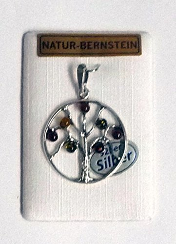 Anhänger,Lebensbaum,Silber mit Bernstein,auf Karte,Dm.ca.2,5cm