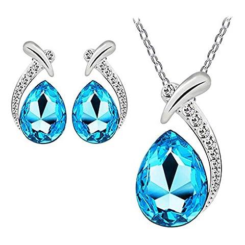Tonsee Femmes Cristal Pendentif Argent Plaqué Collier Collier Boucle D'oreille Bijoux Set (Bleu clair)