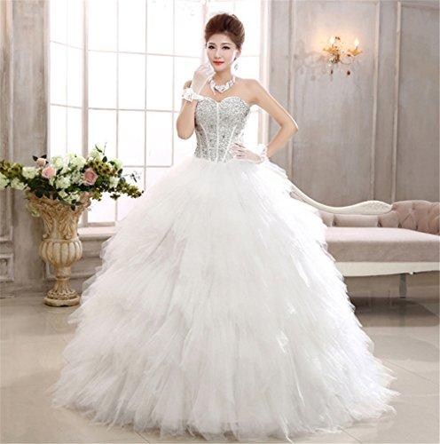 ELEGENCE-Z Hochzeitskleid, Ärmellose Tube Top Braut Qualität Spitze Diamant Dünne Feder Qi...