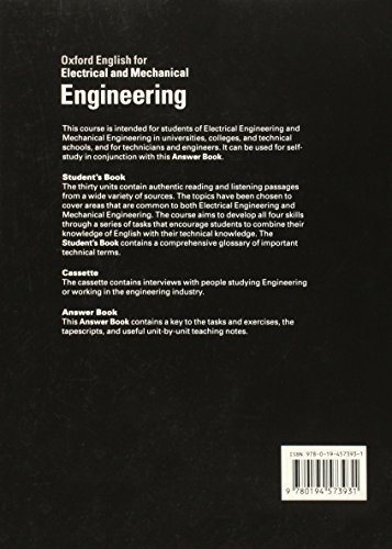 Oxford English for Electrical and Mechanical Engineering Teacher's Book: Answer Book with Teaching Notes (English for Careers)
