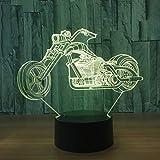 YFINER Luce Notturna Bambini 3D Illusione Ottica LED Lampada di Illuminazione, 7 Colori Touch Luce Notturna con Cavi USB Camera da Letto Desk Table Decoration Lampada per Bambini Adulti,Motocicletta