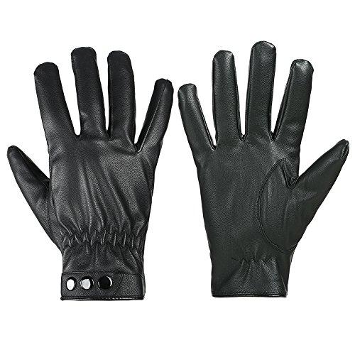 GLOUE Leder Handschuhe Winterfest Wasserabweisend Winddicht Unisex Touch Screen Warme Handschuhe Winter Outdoor Schwarz (Schwarz01)