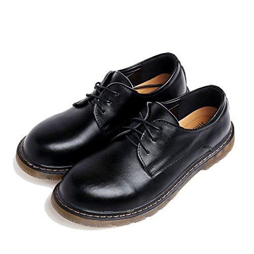 gli uomini sono casualmente scarpe di pelle, scarpe casual a bassa risoluzione, il merletto testa grossa scarpe da uomo, scarpe di cuoio cuoio testa rotonda black