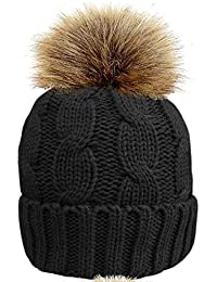 Ladies Rock Jock Cable Knit With Sherpa Lining Beanie Hat With Detachable Pom Pom HAI-619