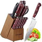 Cuchillos cocina de Homgeek ,cuchillos de acero inoxidable con alto contenido de carbono en Alemania, juego de cuchillos de 15 piezas con caja de madera en bloque, varilla de afilar para cuchillo de cocina.
