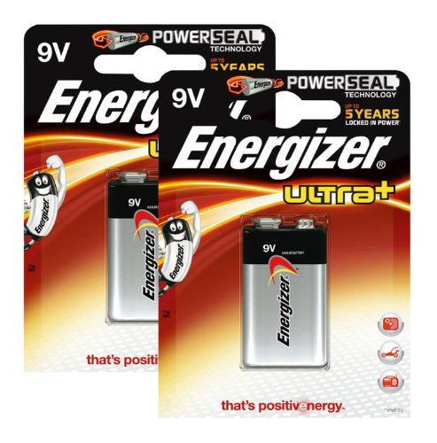 Energizer Original Batterie Ultra Plus E-Block (9 Volt, 2X 1-er Pack) Ultra Alkaline 9v Batterien