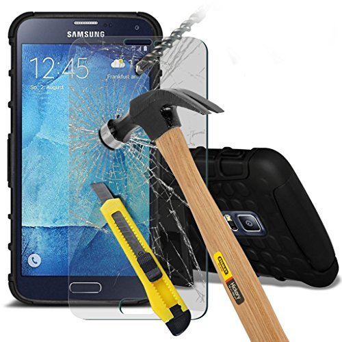Samsung Galaxy S5 Neo hülle Tasche (Grün + Kopfhörer) Slim-Fit-Abdeckung für Samsung-Galaxie-S5 Neo-hülle Tasche Haltbarer S Linie Wellen-Gel-Kasten-Haut-Abdeckung + mit Aluminium Earbud Kopfhörer, Po Shock proof + glass (Black)