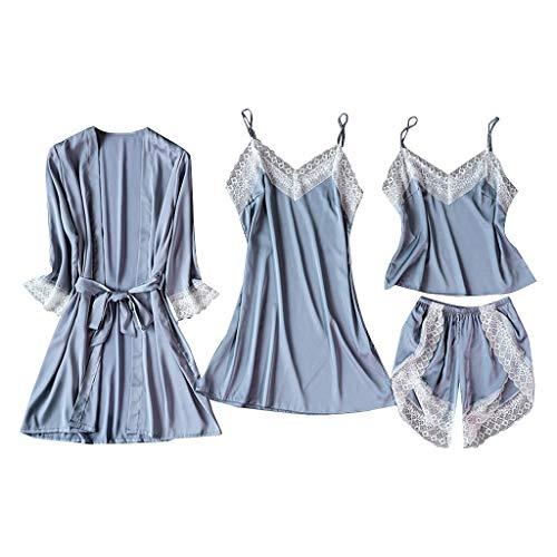 Dasongff Damen Satin Nachtwäsche 4PC Suit Nachtwäsche Mode Dessous Unterwäsche Babydoll Nachtwäsche Kleid Rückenfrei Zweiteilige Nachthemd Schlafanzüge Sexy Spitze Pyjamas Bademäntel