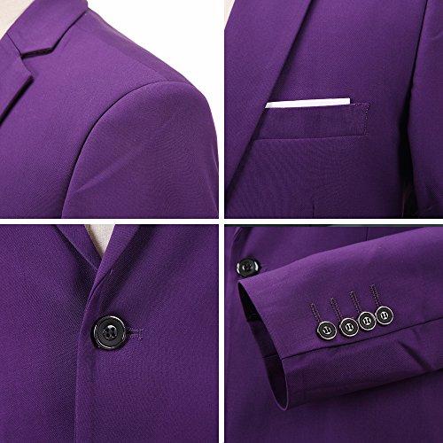 INFLATION Klassisch Slim Fit Schnitt Herren 3-Teilig Anzüge Anzugsuit Men's Suit Reine Farbe Casual Sakko Anzüge Smokings Anzugjacke+Weste+Anzughose 10 Farben verfügbar, XL-6XL Violett