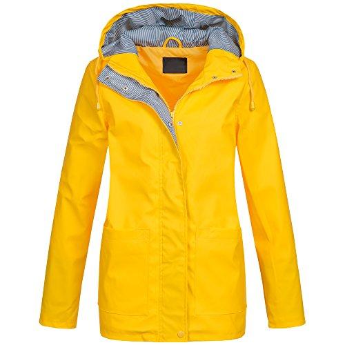 Ausnahme-Zustand Damen Regenjacke Übergang Parka Friesennerz Kapuze S-XXL AZ12, Größe:S - 36;Farbe:Gelb (Kapuze Mantel Jacke)