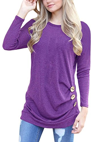 Womens Tops Long Sleeve T-Shirt Loose Button Trim Ladies Blouse Solid Round Neck Tunic Tops
