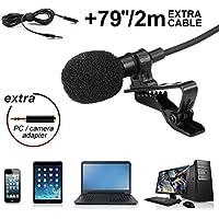 Micrófono de Solapa Hizek Micrófono de condensador con Sistema Clip On para grabación de Youtube, Entrevista, Conferencia, Podcast, iPhone, iPad, iPod, Android, Mac, PC