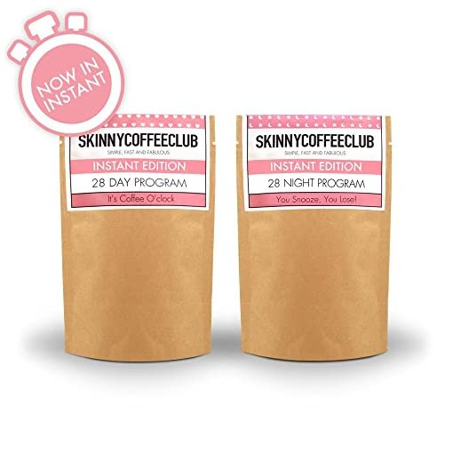 Skinny Coffee Club Instant Coffee Day and Night Weight Management Program | Include 1 Original and 1 Night Edition (Decaf) | Simple, Fast and Fabulous | Specifically Formulated | Made in The UK